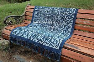 Blue Cotton Rug Indigo Hand Block Print Indoor Carpet Rug Dhurrie Runner 9x12 Ft
