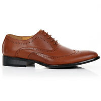 MENS SMART SHOES WEDDING ITALIAN DESIGN OFFICE WORK BROGUE BLACK DRESS SIZE