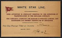 Titanic White Star Line Reprint Ticket On Original Period 1912 Paper Shipwreck