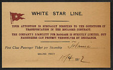 Titanic White Star Line Reprint Ticket On Original Period 1912 Paper Shipwreck