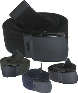"NEW ADJUSTABLE 56"" INCH ASSORTED CANVAS MILITARY WEB BELT BLACK BUCKLE MEN WOMEN"