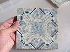 """Vintage Ceramic Tile Blue & White Floral Architectural Antique Gilt Leaf Old  6"""""""