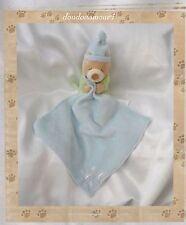 Doudou Ours Dormeur Beige Vert Bleu Mouchoir  Etoile et Bonnet Bleu Kimbaloo