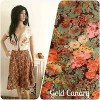 Vintage 60s 70s Smudgy Floral Meadow Cotton Skirt Boho Folk 8 36