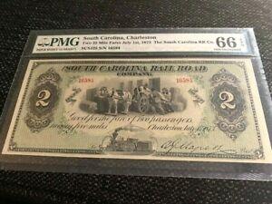 South Carolina, Charleston, Two 25 Mile Fares July 1st, 1873, PMG