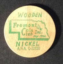 FREMONT NEBRASKA COIN CLUB EDUCATION FRIENDSHIP NUMISMATICS Wooden Nickel