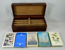 Vintage Playing Card Storage Box 5 Decks of Cards Birds Flowers Ship Sailboat