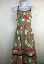 Vtg 60's Jenni Small Sleeveless Fit & Flare Dress Red White Tan Pinup Rockabilly