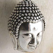 Head of BUDDHA Large HEAVY SilverSari Pendant Amulet Solid 925 Stg Silver PS1036
