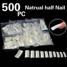 500PCS Natural Half Well False Nail Art Tip Acrylic System UV Gel Decoration T@