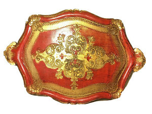 Vintage Italian Florentine Wooden Tole Tray Gold / Red Gilt Ornate Italy