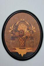 Blumenkorb, signierte Holz-Einlegearbeit, datiert 1923