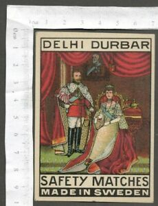 AOP DELHI DURBAR vintage large packet size Matchbox Label