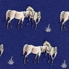 VINTAGE CLASSIC & TIMELESS HERMES White Horses Blue Animal Tie 7480 IA NR 1c