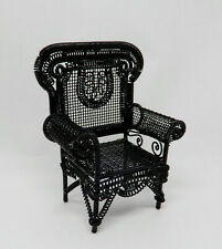 Vintage Black Metal Wicker Chair Dollhouse Miniature 1:12