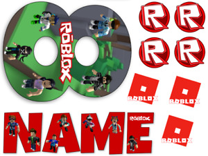 ROBLOX INSPIRED NAME AND NUMBER PERSONALISED CAKE EDIBLE ICING TOPPER