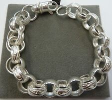 "Solid Sterling Silver Heavy Plain & Patterned 9 "" Belcher Bracelet 35 g -13mm"