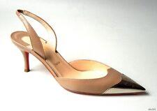 new $1195 CHRISTIAN LOUBOUTIN 'Calamijane 70' beige metal cap toe shoes 36.5 6.5