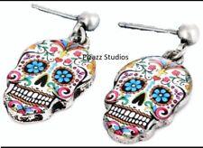 Sugar Skull Dangle Earrings Mexican Day of the Dead Jewelry Halloween Cross 11-6