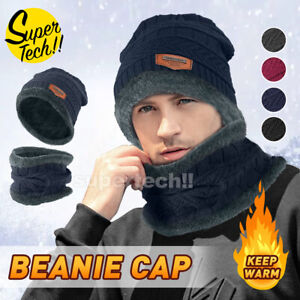 Winter Knitted Hat Men Fur Women Neck Warm Chunky Beanie Fleece Ski Cap AU