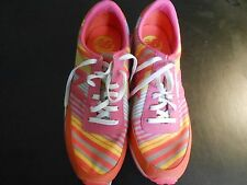 NEW BALANCE FOR NINE WEST--FABRIC STRIPE IS PINK,ORANGE AND YELLOW----9 1/2 B