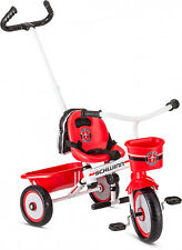 Red & White Toddler Bike Ages 2 - 4 Easy-Steer Tricycle W/ Push/Steer Handle