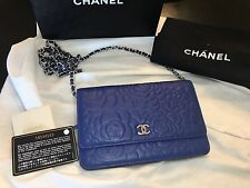 Slightly Used  Chanel Camellia Lambskin Wallet On Chain WOC in BLUE