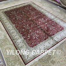 YILONG 6'x9' Red Handknotted Silk Area Rug All-Over Antique Carpet H328B