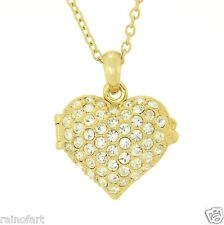 "Heart Love Friend Necklace 18"" Chain Locket W Swarovski Crystal Opening Gp"