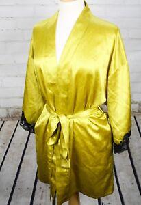 Frederick's of Hollywood Satin Short Robe Sleepwear Women's Large Black Lace