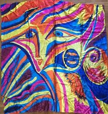 Margi Silk Scarf Vibrant Colors Abstract Tie Dye Eyes