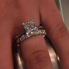 2.68Ct Princess Cut Diamond Engagement Ring Wedding Set Real 14k White Gold Over