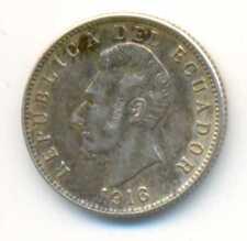 Ecuador Republic Silver Coin UN DECIMO 1916 XF+