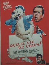 """""""QUELLE VIE DE CHIEN (THE SHAGGY DOG)"""" Affiche orig. entoilée Walt DISNEY 1959"""