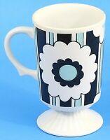 Mid Century Irish Coffee Cup Mug Pedestal Flower Black Aqua Japan Vintage EUC