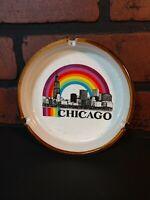 Chicago Rainbow Ashtray White 5 Inches