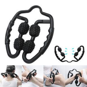 4 Wheel Muscle Relaxer Massage Roller Leg Clamp Massager Stick Yoga Fitness Tool
