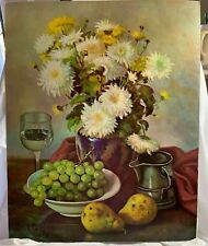 """FLORAL STILL LIFE LITHO IN U.S.A. HENK BOS CREATIVE MANOR  19-3/4"""" x 15-3/4"""""""