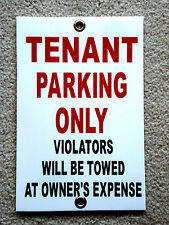 "TENANT PARKING ONLY   8""x12"" Plastic Coroplast Sign w/Grommets"
