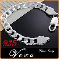New Mens 925 Sterling Silver 10mm Bracelet Charm Bangle Solid Link Chain UK BS17