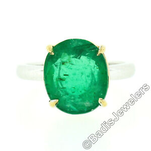 18k TT Gold 4.52ctw GIA Oval Prong Brazilian Emerald Solitaire Engagement Ring