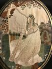 Antique English Petit-Point Woman in Landscape Setting Playing Harp