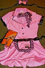 DRIVE IN WAITRESS COSTUME LOT-SHERRI COLLA DRESS set & Fishnet Hose Women Large