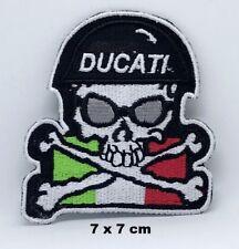 Italia Italian Flag Ducati Skull Motorcycle Biker Embroidered Iron-on Patch