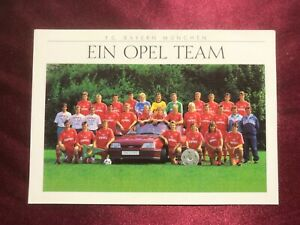 Mannschaftskarte FC BAYERN MÜNCHEN 90/91-Laudrup/Effenberg/McInally/Kohler-AK