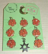bead landing 8 Pink Coral Flower Charms 1 Moon 1 Star Charm New Pendants