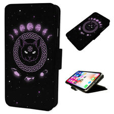 Witch Cat Space Planets - Flip Phone Case Wallet Cover Fits Iphone & Samsung 1