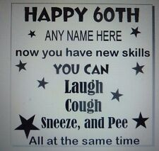 glass block,box frame vinyl decals HAPPY 50TH 60TH 70TH BIRTHDAY GIFT with name
