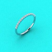Real 14k White Gold 1/4 Ct Round Cut Diamond Wedding Anniversary Thin Band Ring
