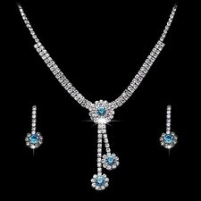 Blue And White Crystal Flower Silver Plated Necklace Earrings Set